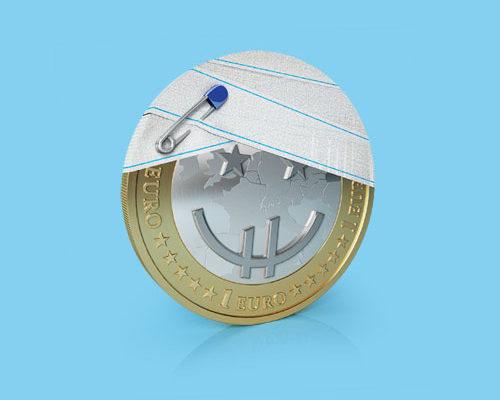 modélisation et rendu 3D pièce de 1 euro, banque Crédit Mutuel, Bancassurance