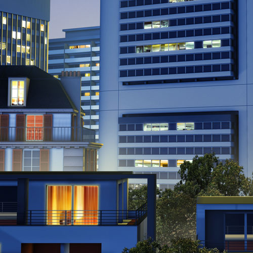 création modélisation et rendu 3D ville, système Systo hager