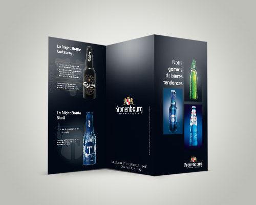 Création 3 volets 6 pages Gamme de bières tendances des Brasseries Kronenbourg
