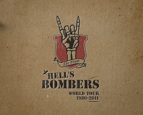 Création identité visuelle, compositing, montage image Hell's Bombers, world tour 1980-2011