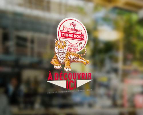 Création Vitrophanie pour la bière Tigre Bock des Brasseries Kronenbourg
