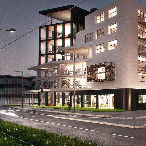 Création, modélisation et rendu 3D, projet immobiler Icade à Strasbourg