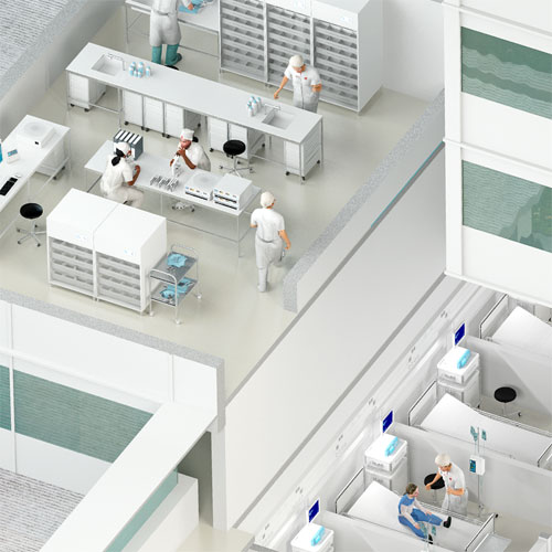 Création, modélisation et rendu 3D, Bâtiment de santé, solutions Socomec à Benfeld