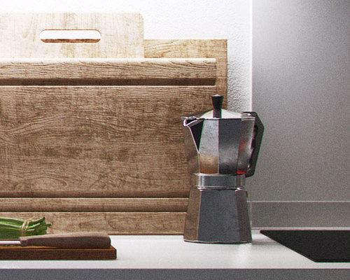 cuisine blanche 3D cinema 4D vray