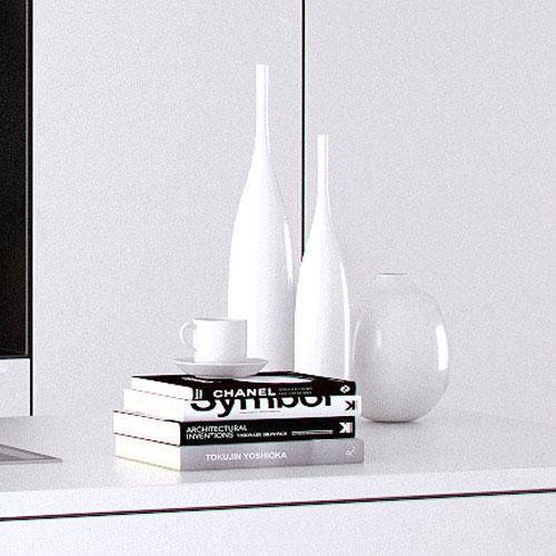 cuisine blanche et noire contemporaine, moderne, 3D cinema 4D vray