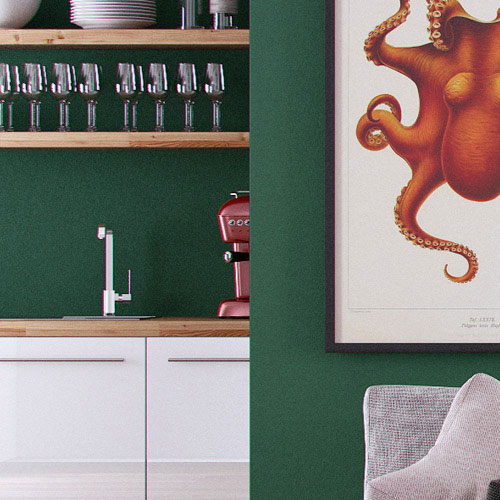 cuisine et salon, mur photos, 3D cinema 4D vray