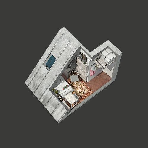 aménagement rénovation chambre, studio, paris, sous les toits, aménagement studio parisien, mobiliers sur-mesure, espace atypique